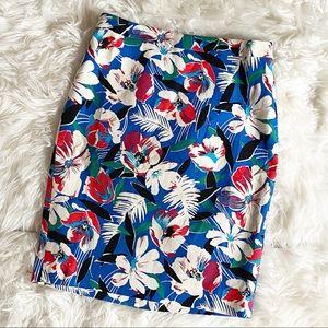 J Crew Tropical Print Blue Pencil Skirt NWT